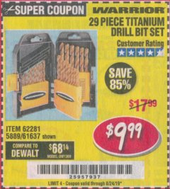 Harbor Freight Coupon 29 PIECE TITANIUM DRILL BIT SET Lot No. 5889/62281/61637 Expired: 8/24/19 - $9.99