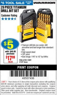 Harbor Freight Coupon 29 PIECE TITANIUM DRILL BIT SET Lot No. 5889/62281/61637 Expired: 6/23/19 - $0.05