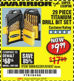 Harbor Freight Coupon 29 PIECE TITANIUM DRILL BIT SET Lot No. 5889/62281/61637 Expired: 10/7/19 - $9.99