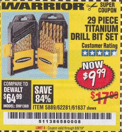 Harbor Freight Coupon 29 PIECE TITANIUM DRILL BIT SET Lot No. 5889/62281/61637 Expired: 8/8/19 - $9.99