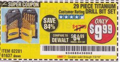 Harbor Freight Coupon 29 PIECE TITANIUM DRILL BIT SET Lot No. 5889/62281/61637 Expired: 7/3/19 - $9.99