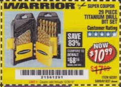 Harbor Freight Coupon 29 PIECE TITANIUM DRILL BIT SET Lot No. 5889/62281/61637 Expired: 10/30/19 - $10.99