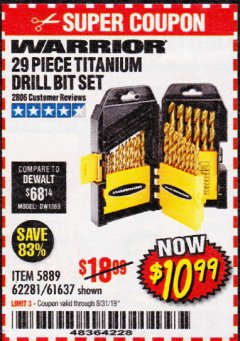 Harbor Freight Coupon 29 PIECE TITANIUM DRILL BIT SET Lot No. 5889/62281/61637 Expired: 8/31/19 - $10.99