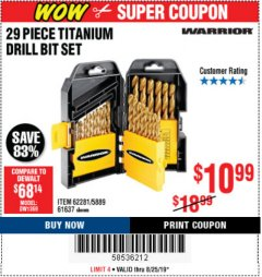 Harbor Freight Coupon 29 PIECE TITANIUM DRILL BIT SET Lot No. 5889/62281/61637 Expired: 8/25/19 - $10.99