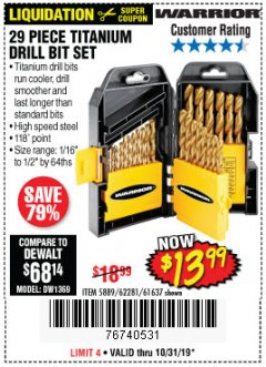 Harbor Freight Coupon 29 PIECE TITANIUM DRILL BIT SET Lot No. 5889/62281/61637 Expired: 10/31/19 - $13.99