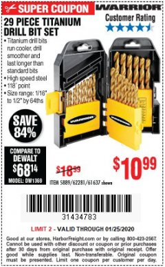 Harbor Freight Coupon 29 PIECE TITANIUM DRILL BIT SET Lot No. 5889/62281/61637 Expired: 1/25/20 - $10.99