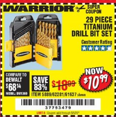 Harbor Freight Coupon 29 PIECE TITANIUM DRILL BIT SET Lot No. 5889/62281/61637 Expired: 6/30/20 - $10.99
