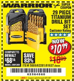 Harbor Freight Coupon 29 PIECE TITANIUM DRILL BIT SET Lot No. 5889/62281/61637 Expired: 6/21/20 - $10.99