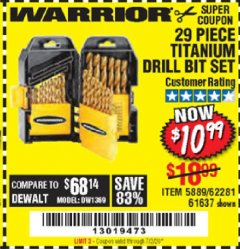 Harbor Freight Coupon 29 PIECE TITANIUM DRILL BIT SET Lot No. 5889/62281/61637 Expired: 7/2/20 - $10.99