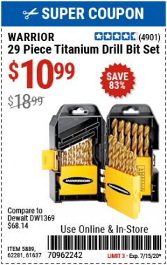 Harbor Freight Coupon 29 PIECE TITANIUM DRILL BIT SET Lot No. 5889/62281/61637 Expired: 7/15/20 - $10.99