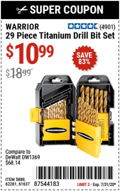 Harbor Freight Coupon 29 PIECE TITANIUM DRILL BIT SET Lot No. 5889/62281/61637 Expired: 7/31/20 - $10.99