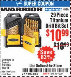 Harbor Freight Coupon 29 PIECE TITANIUM DRILL BIT SET Lot No. 5889/62281/61637 Expired: 10/16/20 - $10.99