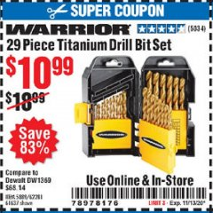 Harbor Freight Coupon 29 PIECE TITANIUM DRILL BIT SET Lot No. 5889/62281/61637 Expired: 11/13/20 - $10.99