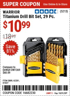 Harbor Freight Coupon 29 PIECE TITANIUM DRILL BIT SET Lot No. 5889/62281/61637 Expired: 10/31/20 - $10.99
