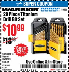 Harbor Freight Coupon 29 PIECE TITANIUM DRILL BIT SET Lot No. 5889/62281/61637 Expired: 11/6/20 - $10.99
