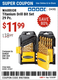 Harbor Freight Coupon 29 PIECE TITANIUM DRILL BIT SET Lot No. 5889/62281/61637 Expired: 12/3/20 - $11.99