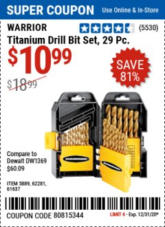Harbor Freight Coupon 29 PIECE TITANIUM DRILL BIT SET Lot No. 5889/62281/61637 Expired: 12/31/20 - $10.99