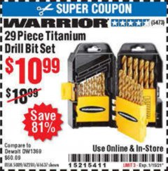 Harbor Freight Coupon 29 PIECE TITANIUM DRILL BIT SET Lot No. 5889/62281/61637 Expired: 1/15/21 - $10.99