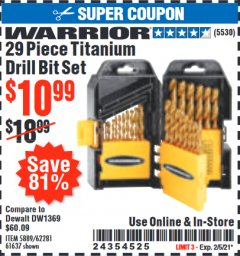 Harbor Freight Coupon 29 PIECE TITANIUM DRILL BIT SET Lot No. 5889/62281/61637 Expired: 2/5/21 - $10.99