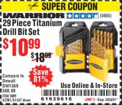 Harbor Freight Coupon 29 PIECE TITANIUM DRILL BIT SET Lot No. 5889/62281/61637 Expired: 3/23/21 - $10.99