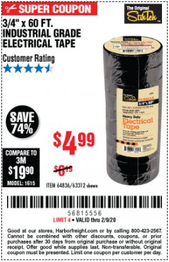 "Harbor Freight Coupon 3/4"" X 60 FT. INDUSTRIAL GRADE ELECTRICAL TAPE PACK OF 10 Lot No. 63312/64836 Expired: 2/9/20 - $4.99"