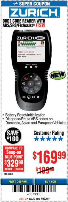 Harbor Freight Coupon ZURICH OBD2 SCANNER WITH ABS ZR13 Lot No. 63806 Expired: 7/22/18 - $169.99