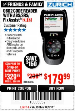 Harbor Freight Coupon ZURICH OBD2 SCANNER WITH ABS ZR13 Lot No. 63806 Expired: 12/9/18 - $179.99