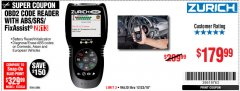 Harbor Freight Coupon ZURICH OBD2 SCANNER WITH ABS ZR13 Lot No. 63806 Expired: 12/23/18 - $179.99