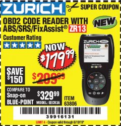 Harbor Freight Coupon ZURICH OBD2 SCANNER WITH ABS ZR13 Lot No. 63806 Expired: 6/19/19 - $179.99