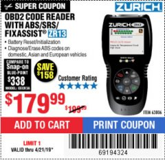 Harbor Freight Coupon ZURICH OBD2 SCANNER WITH ABS ZR13 Lot No. 63806 Expired: 4/21/19 - $179.99