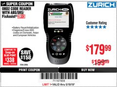 Harbor Freight Coupon ZURICH OBD2 SCANNER WITH ABS ZR13 Lot No. 63806 Expired: 5/19/19 - $179.99