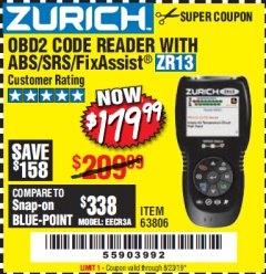 Harbor Freight Coupon ZURICH OBD2 SCANNER WITH ABS ZR13 Lot No. 63806 Expired: 8/23/19 - $179.99