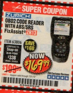 Harbor Freight Coupon ZURICH OBD2 SCANNER WITH ABS ZR13 Lot No. 63806 Expired: 7/31/19 - $169.99
