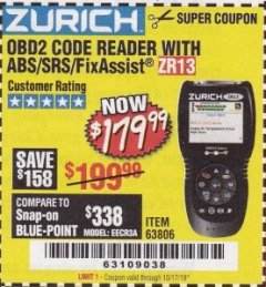 Harbor Freight Coupon ZURICH OBD2 SCANNER WITH ABS ZR13 Lot No. 63806 Expired: 10/17/19 - $179.99