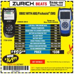 Harbor Freight Coupon ZURICH OBD2 SCANNER WITH ABS ZR13 Lot No. 63806 Expired: 8/31/19 - $169.99