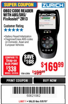 Harbor Freight Coupon ZURICH OBD2 SCANNER WITH ABS ZR13 Lot No. 63806 Expired: 6/9/19 - $169.99