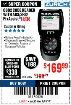 Harbor Freight Coupon ZURICH OBD2 SCANNER WITH ABS ZR13 Lot No. 63806 Expired: 9/29/19 - $169.99