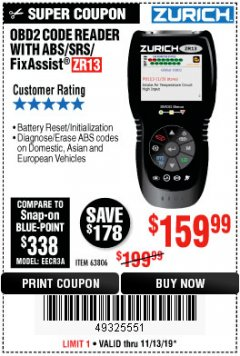 Harbor Freight Coupon ZURICH OBD2 SCANNER WITH ABS ZR13 Lot No. 63806 Expired: 11/13/19 - $159.99