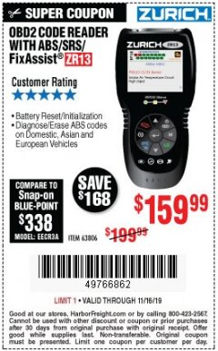 Harbor Freight Coupon ZURICH OBD2 SCANNER WITH ABS ZR13 Lot No. 63806 Expired: 11/16/19 - $159.99