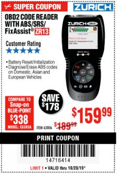 Harbor Freight Coupon ZURICH OBD2 SCANNER WITH ABS ZR13 Lot No. 63806 Expired: 10/20/19 - $159.99