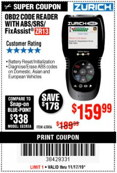 Harbor Freight Coupon ZURICH OBD2 SCANNER WITH ABS ZR13 Lot No. 63806 Expired: 11/17/19 - $159.99