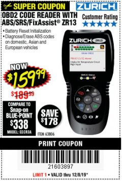 Harbor Freight Coupon ZURICH OBD2 SCANNER WITH ABS ZR13 Lot No. 63806 Expired: 12/8/19 - $159.99