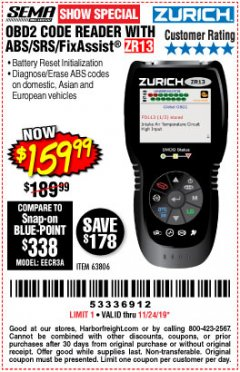 Harbor Freight Coupon ZURICH OBD2 SCANNER WITH ABS ZR13 Lot No. 63806 Expired: 11/24/19 - $159.99