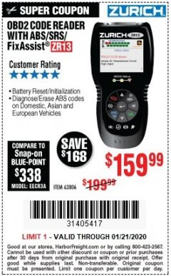 Harbor Freight Coupon ZURICH OBD2 SCANNER WITH ABS ZR13 Lot No. 63806 Expired: 1/21/20 - $159.99