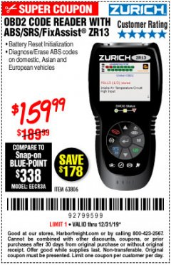 Harbor Freight Coupon ZURICH OBD2 SCANNER WITH ABS ZR13 Lot No. 63806 Expired: 12/31/19 - $159.99