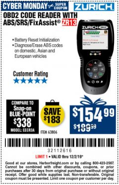 Harbor Freight Coupon ZURICH OBD2 SCANNER WITH ABS ZR13 Lot No. 63806 Expired: 12/1/19 - $154.99