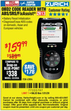 Harbor Freight Coupon ZURICH OBD2 SCANNER WITH ABS ZR13 Lot No. 63806 Expired: 1/31/20 - $159.99