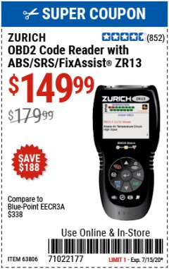 Harbor Freight Coupon ZURICH OBD2 SCANNER WITH ABS ZR13 Lot No. 63806 Expired: 7/15/20 - $149.99