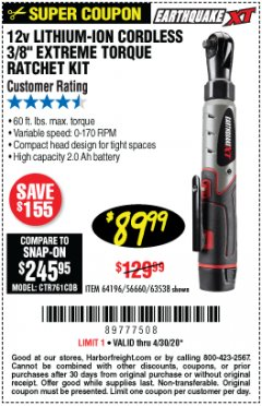 "Harbor Freight Coupon EARTHQUAKE XT 12 VOLT, 3/8"" CORDLESS EXTREME TORQUE RATCHET KIT Lot No. 63538/64196 Expired: 6/30/20 - $89.99"