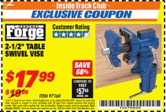 "Harbor Freight ITC Coupon 2-1/2"" TABLE SWIVEL VISE Lot No. 97160 Expired: 7/31/18 - $17.99"
